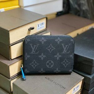 AUTHENTIC Black Monogram leather zippy coin wallet